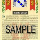 KECK - DUTCH - Armorial Name History - Coat of Arms - Family Crest GIFT! 8.5x11