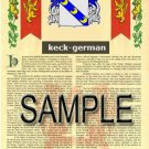 KECK - GERMAN - Armorial Name History - Coat of Arms - Family Crest GIFT! 8.5x11