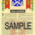 KEE - SCOTTISH - Armorial Name History - Coat of Arms - Family Crest GIFT! 8.5x11