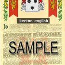 KEETON - ENGLISH - Armorial Name History - Coat of Arms - Family Crest GIFT! 8.5x11