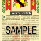 KEEVER - SCOTTISH - Armorial Name History - Coat of Arms - Family Crest GIFT! 8.5x11
