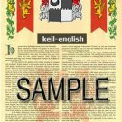 KEIL - ENGLISH - Armorial Name History - Coat of Arms - Family Crest GIFT! 8.5x11