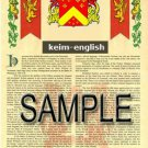 KEIM - ENGLISH - Armorial Name History - Coat of Arms - Family Crest GIFT! 8.5x11