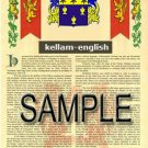 KELLAM - ENGLISH - Armorial Name History - Coat of Arms - Family Crest GIFT! 8.5x11
