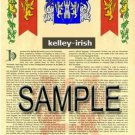 KELLEY - IRISH - Armorial Name History - Coat of Arms - Family Crest GIFT! 8.5x11