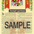 KEMPF - GERMAN - Armorial Name History - Coat of Arms - Family Crest GIFT! 8.5x11