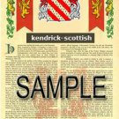 KENDRICK - SCOTTISH - Armorial Name History - Coat of Arms - Family Crest GIFT! 8.5x11