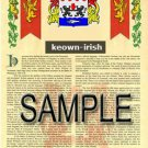 KEOWN - IRISH - Armorial Name History - Coat of Arms - Family Crest GIFT! 8.5x11