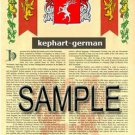 KEPHART - GERMAN - Armorial Name History - Coat of Arms - Family Crest GIFT! 8.5x11