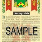 KERLEY - IRISH - Armorial Name History - Coat of Arms - Family Crest GIFT! 8.5x11