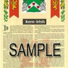 KERN - IRISH - Armorial Name History - Coat of Arms - Family Crest GIFT! 8.5x11
