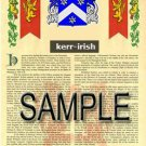 KERR - IRISH - Armorial Name History - Coat of Arms - Family Crest GIFT! 8.5x11