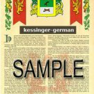 KESSINGER - GERMAN - Armorial Name History - Coat of Arms - Family Crest GIFT! 8.5x11