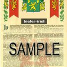 KIEFER - IRISH - Armorial Name History - Coat of Arms - Family Crest GIFT! 8.5x11