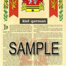 KIEL - GERMAN - Armorial Name History - Coat of Arms - Family Crest GIFT! 8.5x11