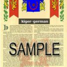 KIGER - GERMAN - Armorial Name History - Coat of Arms - Family Crest GIFT! 8.5x11