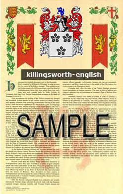 KILLINGSWORTH - ENGLISH - Armorial Name History - Coat of Arms - Family Crest GIFT! 8.5x11