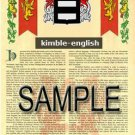 KIMBLE - ENGLISH - Armorial Name History - Coat of Arms - Family Crest GIFT! 8.5x11