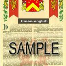 KIMES - ENGLISH - Armorial Name History - Coat of Arms - Family Crest GIFT! 8.5x11