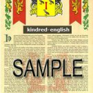 KINDRED - ENGLISH - Armorial Name History - Coat of Arms - Family Crest GIFT! 8.5x11