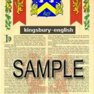 KINGSBURY - ENGLISH - Armorial Name History - Coat of Arms - Family Crest GIFT! 8.5x11