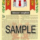 KINSER - ENGLISH - Armorial Name History - Coat of Arms - Family Crest GIFT! 8.5x11