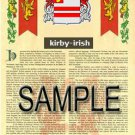 KIRBY - IRISH - Armorial Name History - Coat of Arms - Family Crest GIFT! 8.5x11