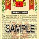 KIRK - SCOTTISH - Armorial Name History - Coat of Arms - Family Crest GIFT! 8.5x11