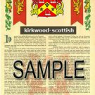 KIRKWOOD - SCOTTISH - Armorial Name History - Coat of Arms - Family Crest GIFT! 8.5x11