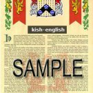KISH - ENGLISH - Armorial Name History - Coat of Arms - Family Crest GIFT! 8.5x11