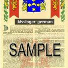 KISSINGER - GERMAN - Armorial Name History - Coat of Arms - Family Crest GIFT! 8.5x11