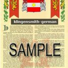 KLINGENSMITH - GERMAN - Armorial Name History - Coat of Arms - Family Crest GIFT! 8.5x11