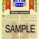 KLINGER - GERMAN - Armorial Name History - Coat of Arms - Family Crest GIFT! 8.5x11