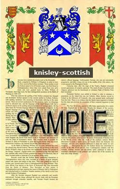 KNISLEY - SCOTTISH - Armorial Name History - Coat of Arms - Family Crest  GIFT! 8 5x11