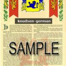 KNUDSEN - GERMAN - Armorial Name History - Coat of Arms - Family Crest GIFT! 8.5x11