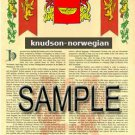 KNUDSON - NORWEGIAN - Armorial Name History - Coat of Arms - Family Crest GIFT! 8.5x11