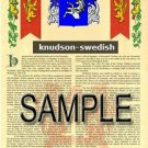 KNUDSON - SWEDISH - Armorial Name History - Coat of Arms - Family Crest GIFT! 8.5x11
