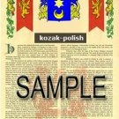 KOZAK - POLISH - Armorial Name History - Coat of Arms - Family Crest GIFT! 8.5x11