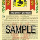 KRAEMER - GERMAN - Armorial Name History - Coat of Arms - Family Crest GIFT! 8.5x11
