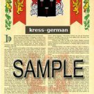 KRESS - GERMAN - Armorial Name History - Coat of Arms - Family Crest GIFT! 8.5x11