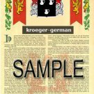 KROEGER - GERMAN - Armorial Name History - Coat of Arms - Family Crest GIFT! 8.5x11