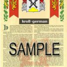 KROLL - GERMAN - Armorial Name History - Coat of Arms - Family Crest GIFT! 8.5x11