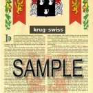 KRUG - SWISS - Armorial Name History - Coat of Arms - Family Crest GIFT! 8.5x11
