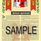 KRUSE - GERMAN - Armorial Name History - Coat of Arms - Family Crest GIFT! 8.5x11