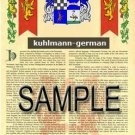 KUHLMANN - GERMAN - Armorial Name History - Coat of Arms - Family Crest GIFT! 8.5x11