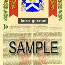 KUHN - GERMAN - Armorial Name History - Coat of Arms - Family Crest GIFT! 8.5x11