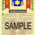 KUNKEL - GERMAN - Armorial Name History - Coat of Arms - Family Crest GIFT! 8.5x11