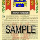 KURTH - ENGLISH - Armorial Name History - Coat of Arms - Family Crest GIFT! 8.5x11