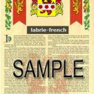 LABRIE - FRENCH - Armorial Name History - Coat of Arms - Family Crest GIFT! 8.5x11
