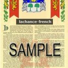 LACHANCE - FRENCH - Armorial Name History - Coat of Arms - Family Crest GIFT! 8.5x11